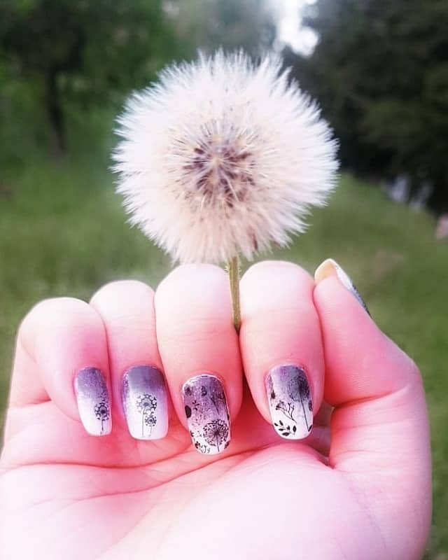 dandelion flower nail art