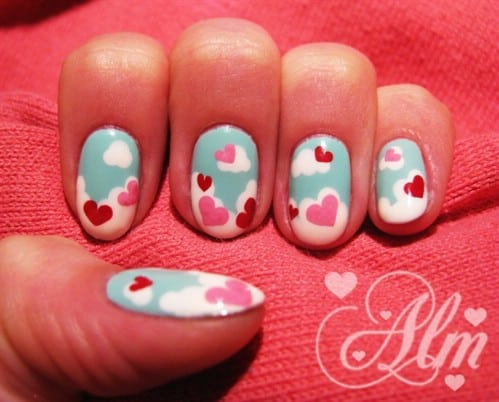 sky blue heart nail idea