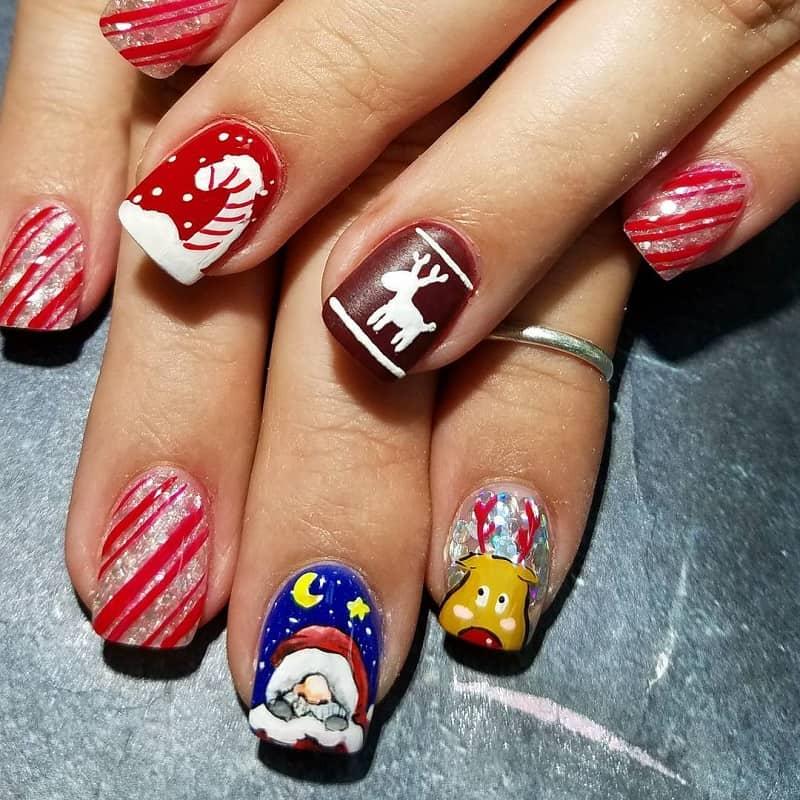 hand painted christmas nail art design