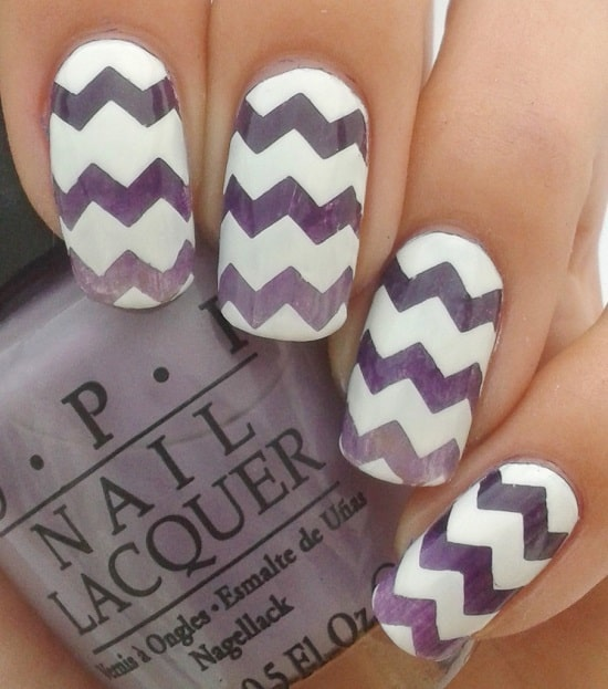 purple and white chevron nail