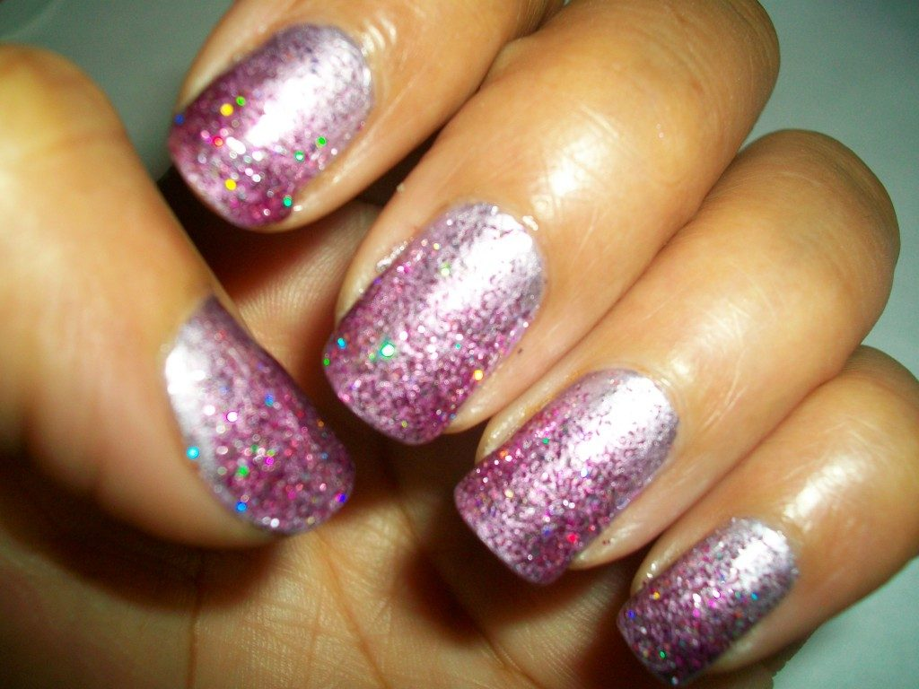 purple faded glitter ombre nail