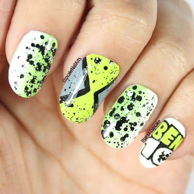 Ben10 cartoon nail art