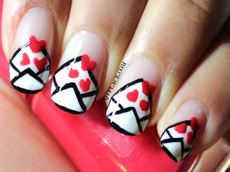 Letter Design valentine nail