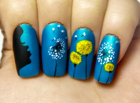Full Bloom Dandelion Nail Art