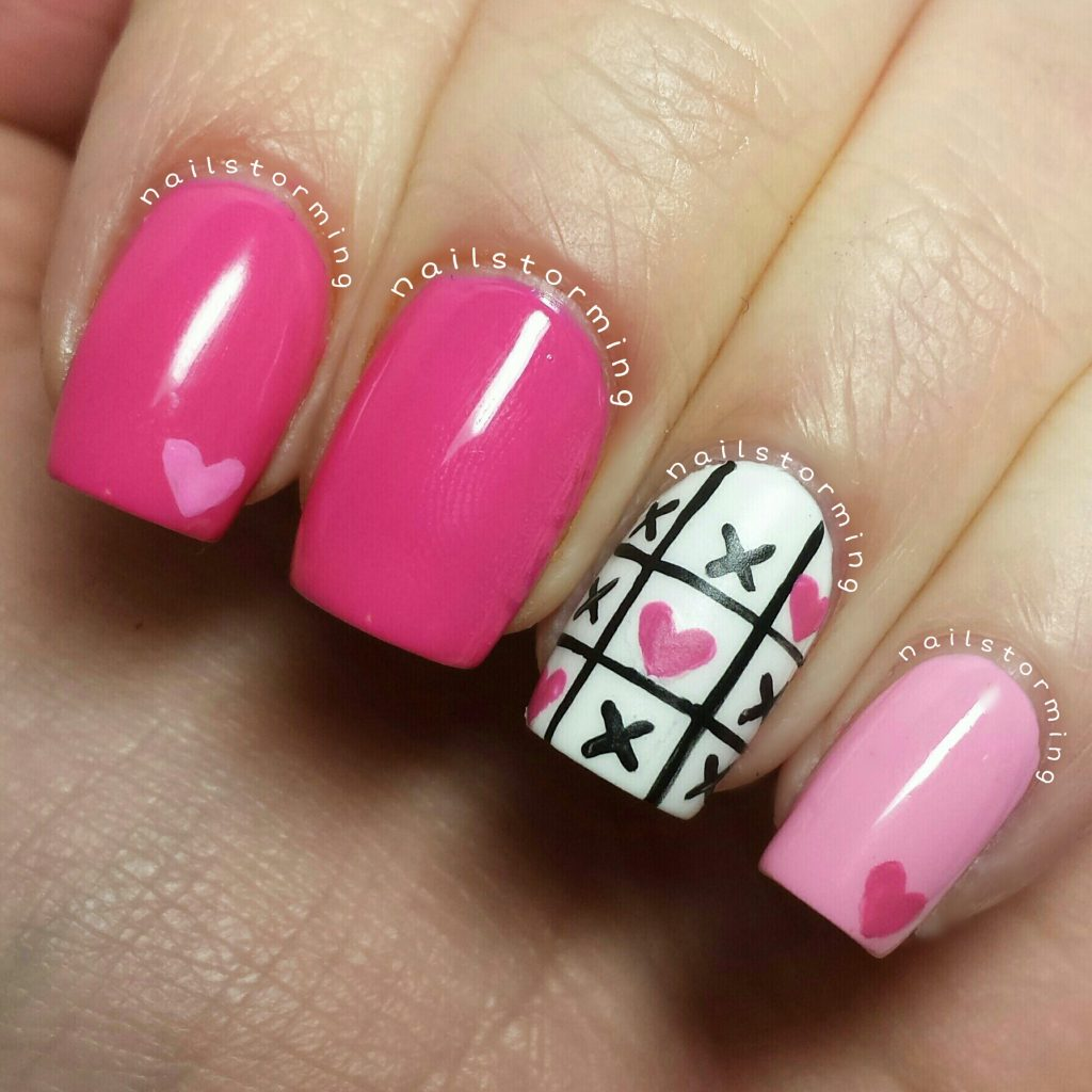 hot pink & black color heart nail design