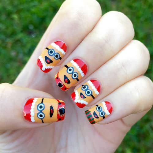 Santa clause minion nail design