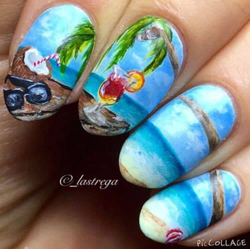 Tropical Beach Nail Design