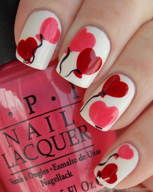 25 hearty heart nail designs to ignite romantic soul balloon heart nail design prinsesfo Choice Image