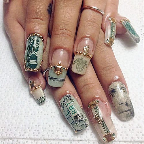 Dollar Art on Long Acrylic Nail
