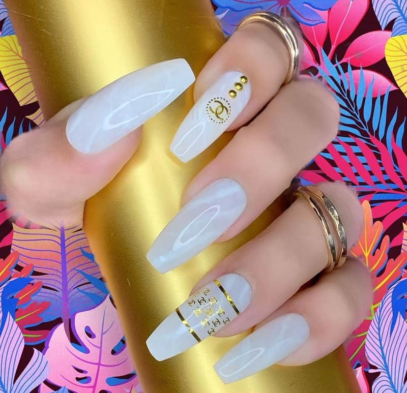 chanel gel nail designs