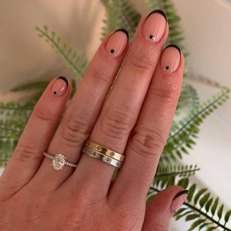 clear nails with black tips