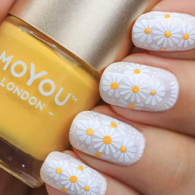 White on white daisy nail designs