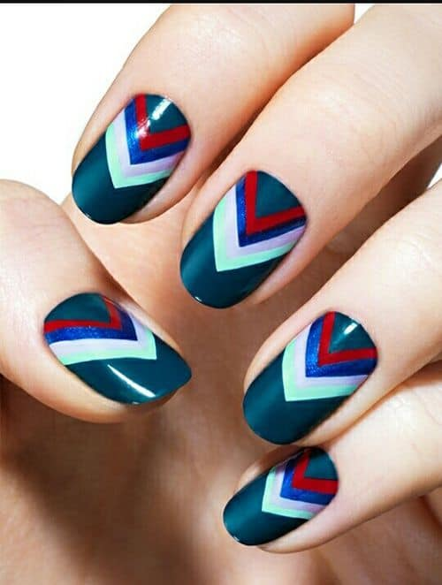 colorful design on chevron nail