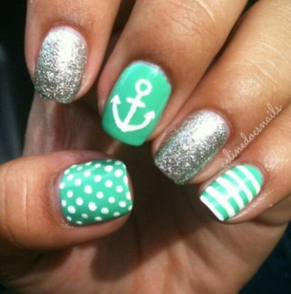 Mint Green Anchor Design Nail