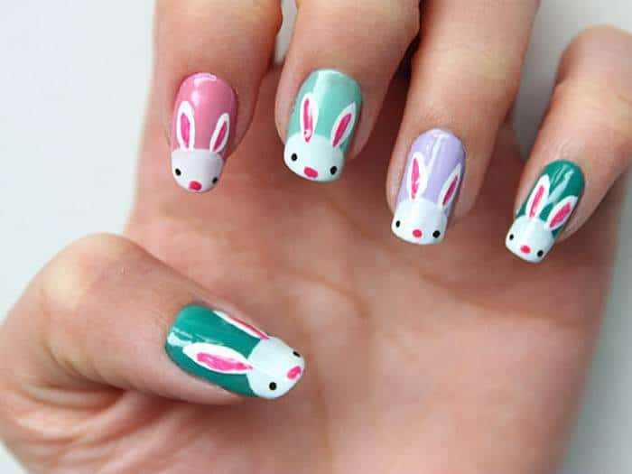 hand painted bunny nail design