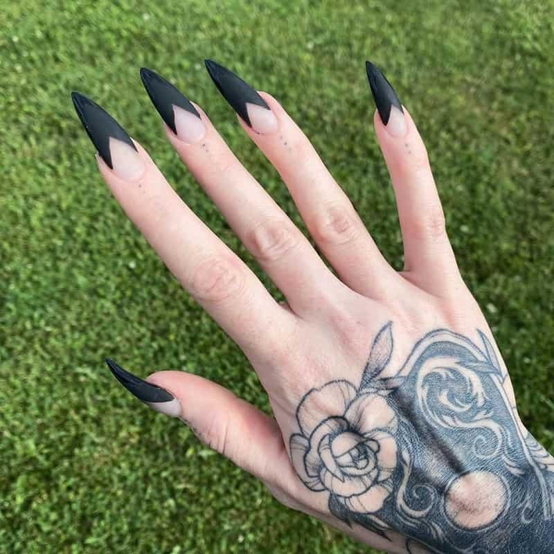 black tip halloween nails