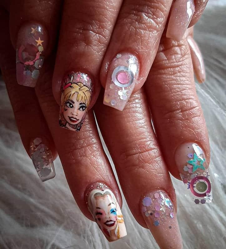 harley quinn nail art stickers