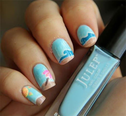 Sea Wave Nail Art
