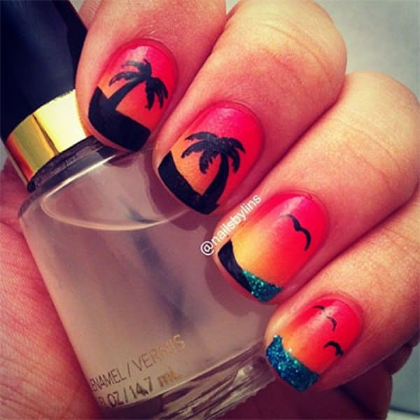 Sunset on The Beach Nail Design
