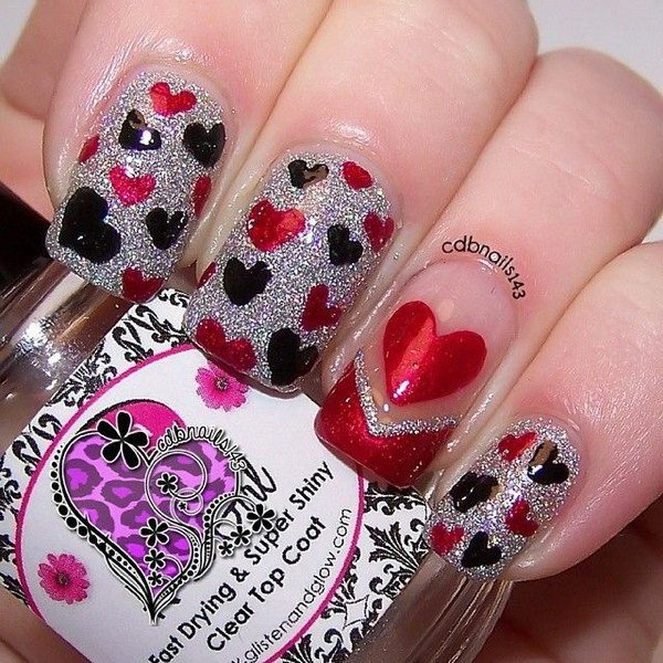 Shimmery heart nail design