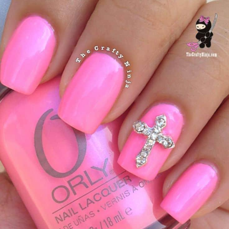 Neon Pink Cross Nail