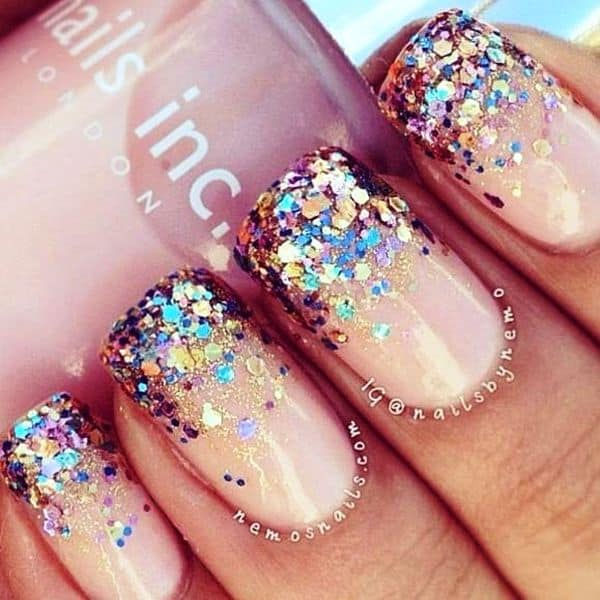 colorful glitter ombre nail