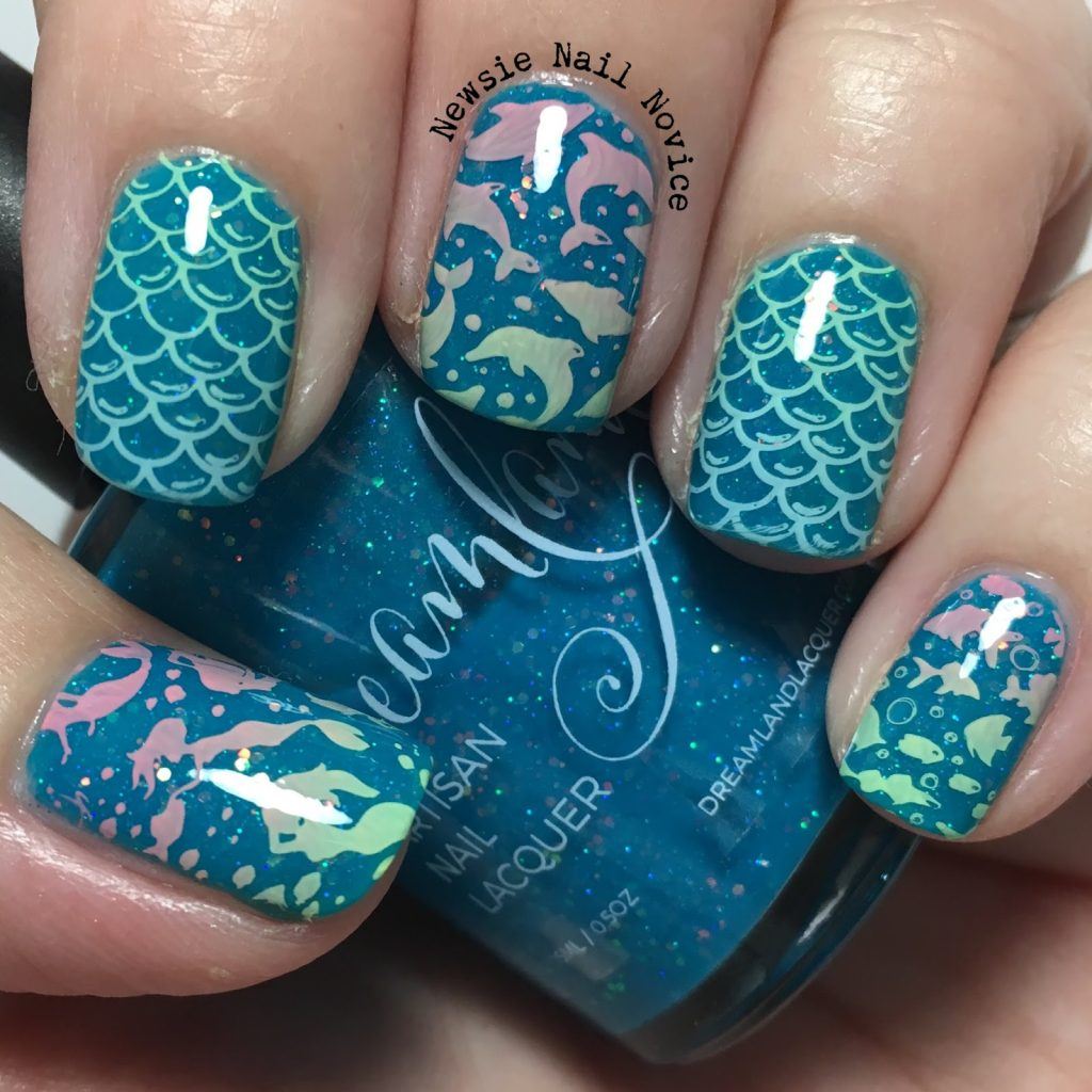Fish scales and dolphin nail design