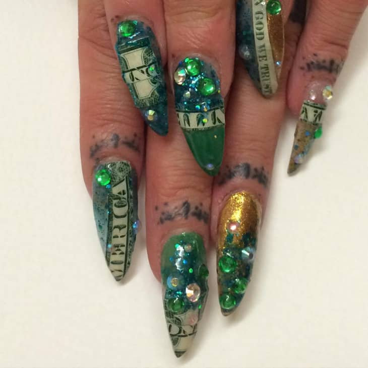 Green Stiletto Dollar Nail Design
