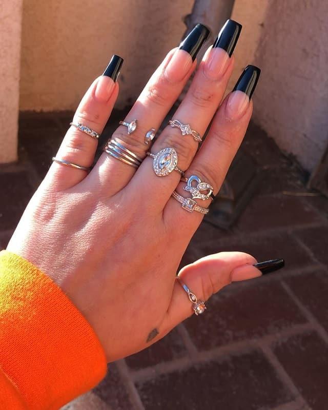black tip long nails