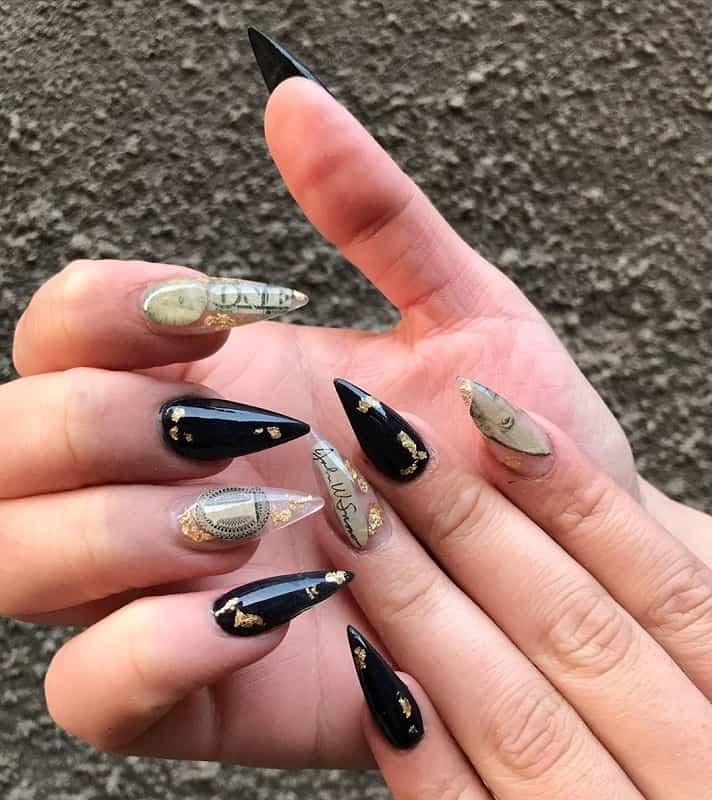 dollar stiletto nail art