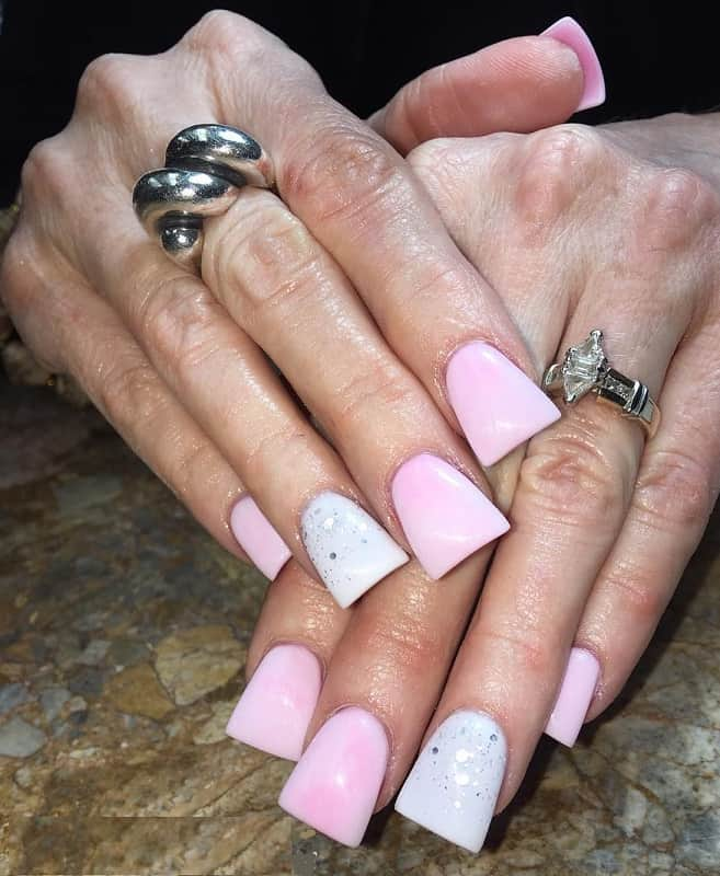 pink and white duck nails