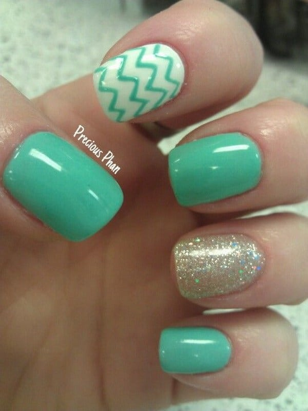 mint green chevron nail