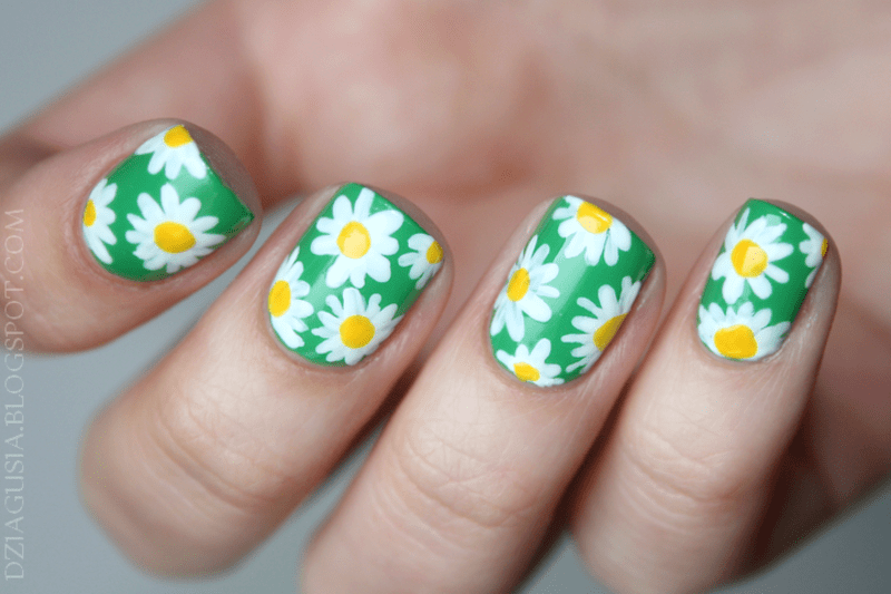 daisy nail art designs