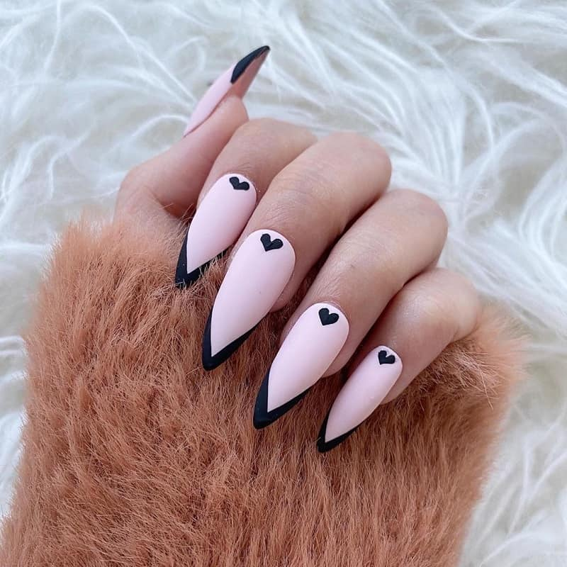 black tips nails with pink