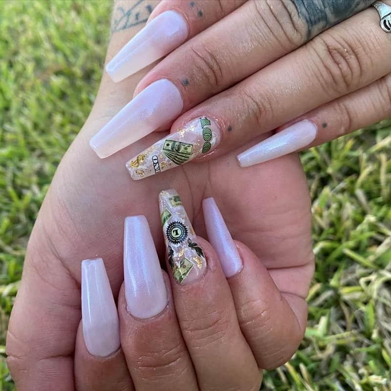 dollar chrome nail art