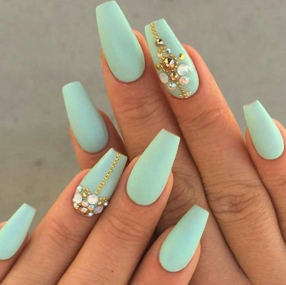 mint green matte stiletto nail
