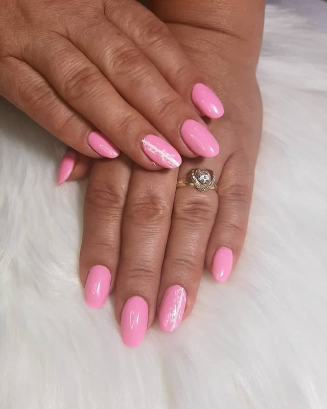 rounded acrylic baby pink nails