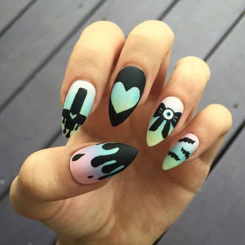 pastel color gothic nail art
