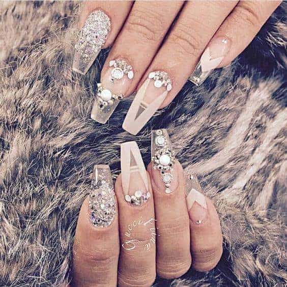 Jewelled Clear Nail Designs