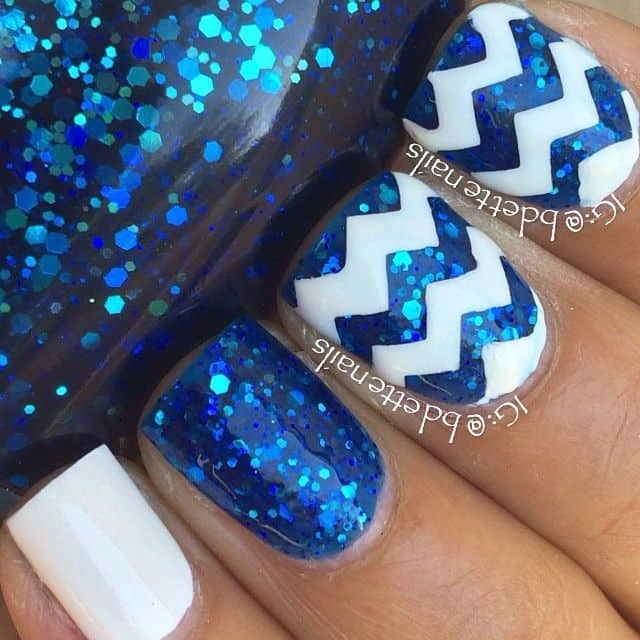 20 divine chevron nails know how to slay one naildesigncode blue is a royal color shiny blue looks so luxe in any designs you can have your chevron nails designed with blue chevron patterns on white nails solutioingenieria Gallery