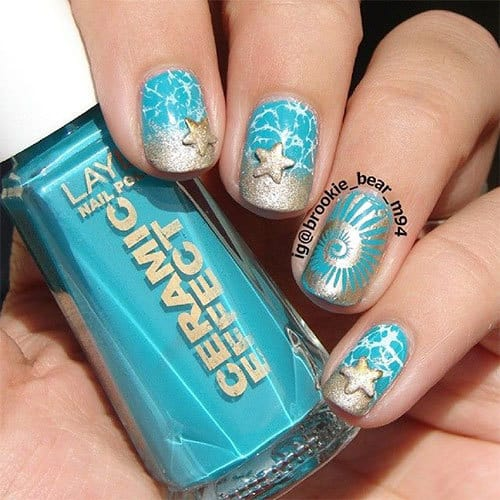 Beach Nail Design With Star Fish