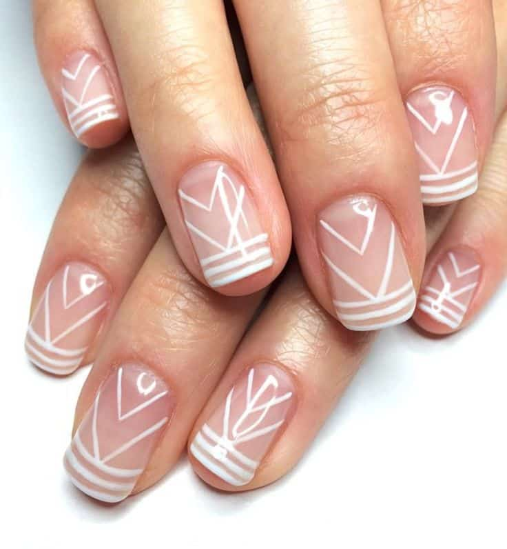 Tribal Patterned clear nail designs