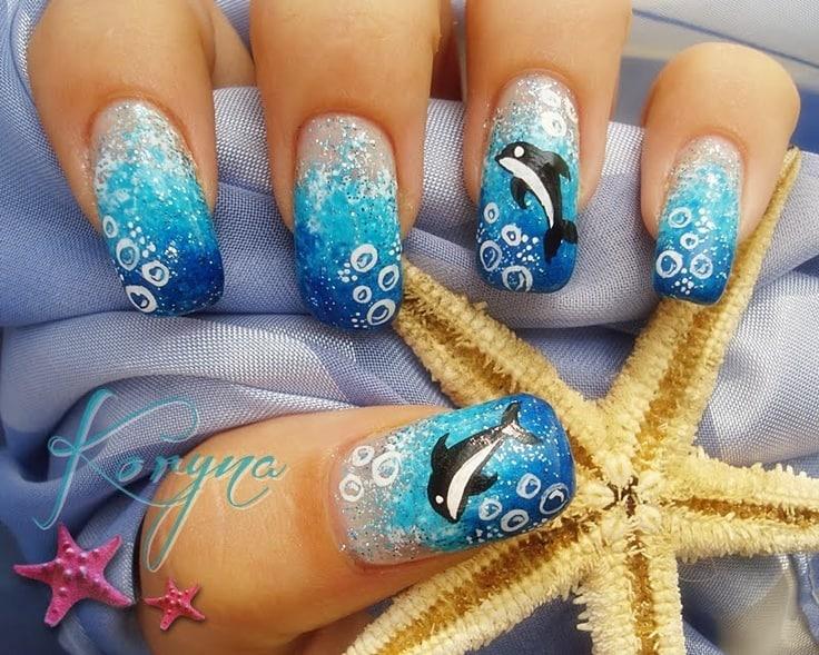 Under the sea dolphin nail