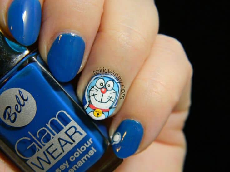 20 cutesy cartoon nail art for reminiscing childhood doraemon character nail art prinsesfo Image collections