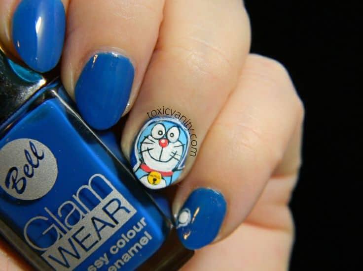 Doraemon character nail art