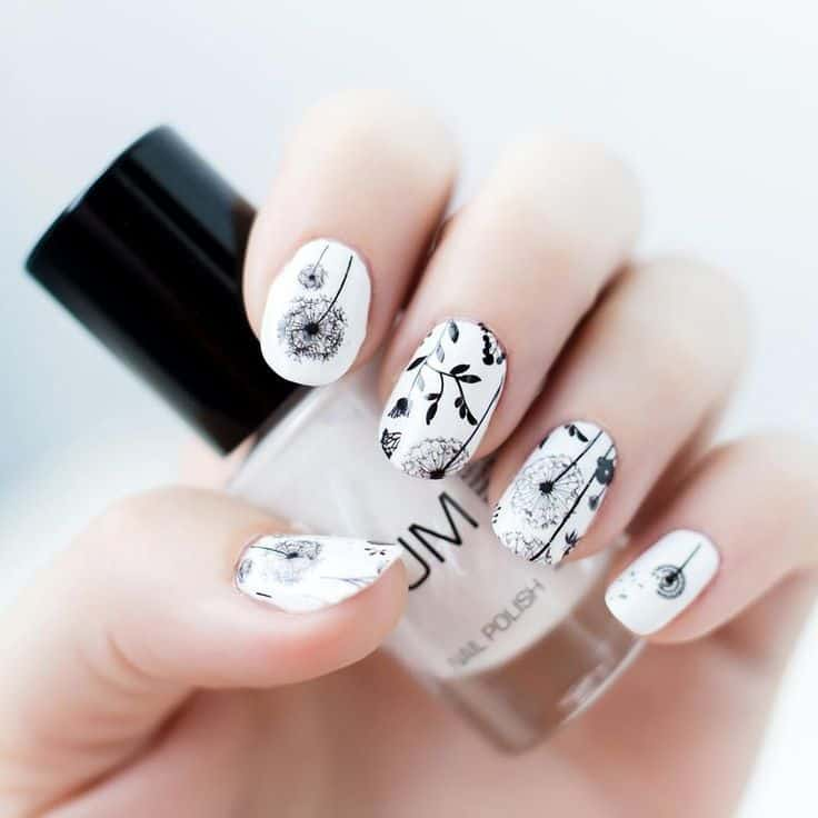 Black & White dandelion nail art