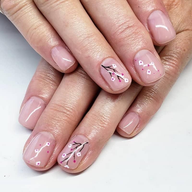 cherry blossom clear nail art