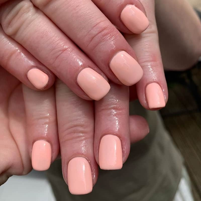 short square light pink nails