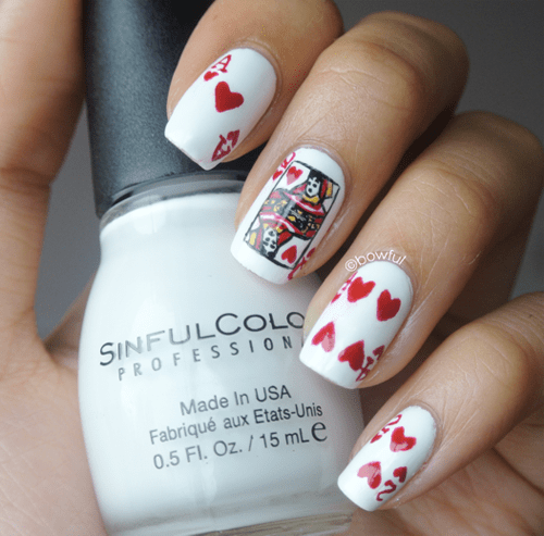 playing card heart shape nail