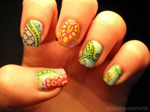 colorful henna patterned nail design